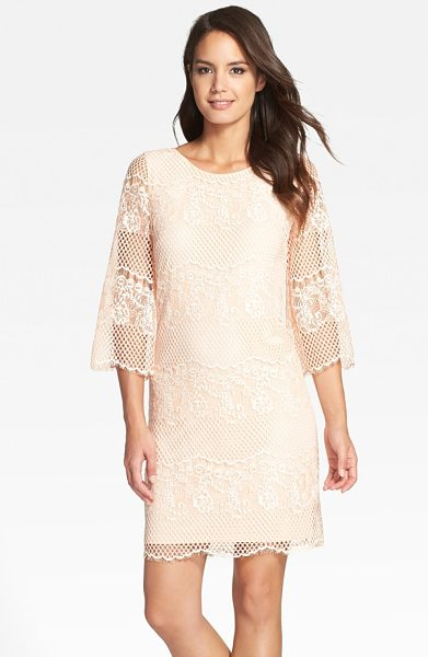 ERIN Erin Fetherston maybelle lace shift dress in rose - Floral- and honeycomb-patterned lace tethered with...