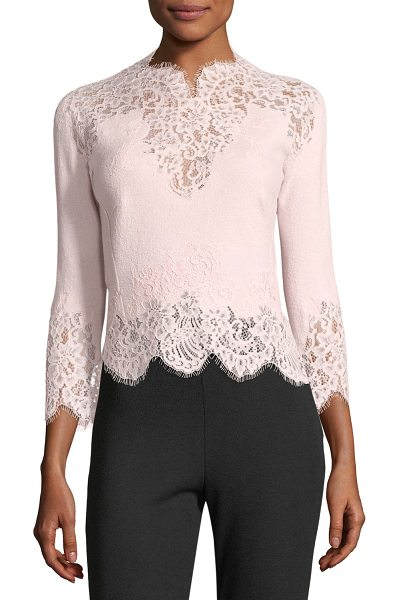 Ermanno Scervino 3/4-Sleeve Scalloped Lace Top in light pink - Ermanno Scervino floral lace top. Scalloped neckline...