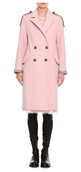 Ermanno Scervino Embroidered Double-Breasted Virgin Wool Coat in light pink - Ermanno Scervino double-breasted coat from the Fall 2017...