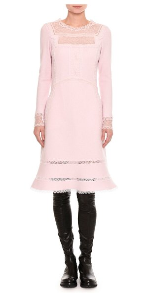 Ermanno Scervino Pashmina Lace-Inset Long-Sleeve Dress in light pink - Ermanno Scervino pashmina dress with delicate lace...