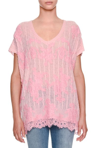Ermanno Scervino V-Neck Cap-Sleeve Cable-Knit Cashmere Sweater with Lace Detail in pink