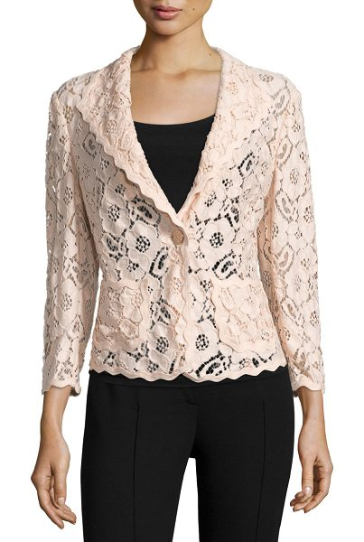 ESCADA 3/4-sleeve one-button lace jacket in rose quartz - Escada floral lace jacket. Shawl collar; one-button...