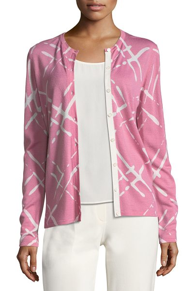 ESCADA Broken Plaid Wool Cardigan in pink - Escada cardigan featuring broken plaid motif. Crew...
