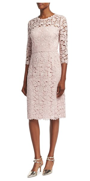 "ESCADA Lace 3/4-Sleeve Sheath Dress in camelia - Escada dress in floral macram lace. Approx. 40""L down..."