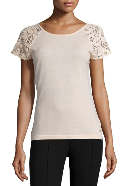 ESCADA Lace-Sleeve Slim-Fit Top in rose quartz - Escada knit top. Round neckline. Short lace sleeves....