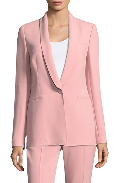 ESCADA button-front wool blazer in rose blossom - Luxe wool blazer with single button closure. Shawl...