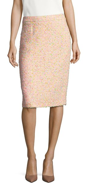 ESCADA ravas funfetti tweed pencil skirt in natural - A candy-colored tweed fabric transforms the knee-length...