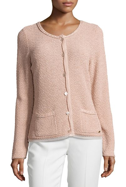 ESCADA Round-neck long-sleeve metallic cardigan in desert rose - Escada metallic knit cardigan with sheer trim. Round...