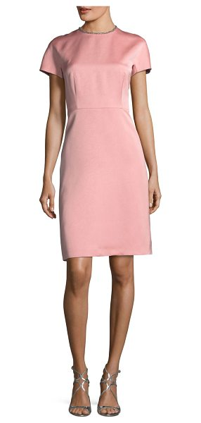 ESCADA Satin Embellished-Collar A-Line Cocktail Dress in pink - Escada dress in Duchesse satin. Round neckline with...