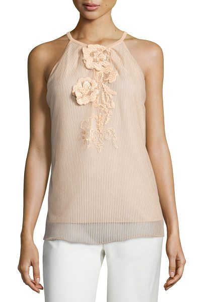 ESCADA Sleeveless floral-appliqué top - Escada tonal-striped overlay top with floral appliqu....
