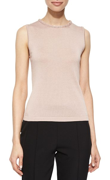 ESCADA Sleeveless Knit Top with Sequin Trim in gloss pink - Escada knit tank with embellished sequin trim. Approx....