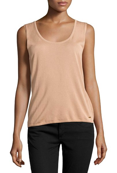 "ESCADA Sleeveless scoop-neck top in desert rose -  Escada knit shell top. Approx. 22""L center back to hem...."