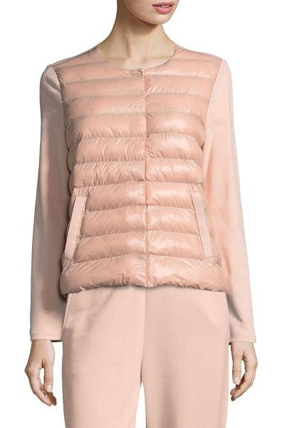 Escada Sport balvel combo puffer jacket in rose shadow - Cotton-blend puffer jacket with quilted front detail....