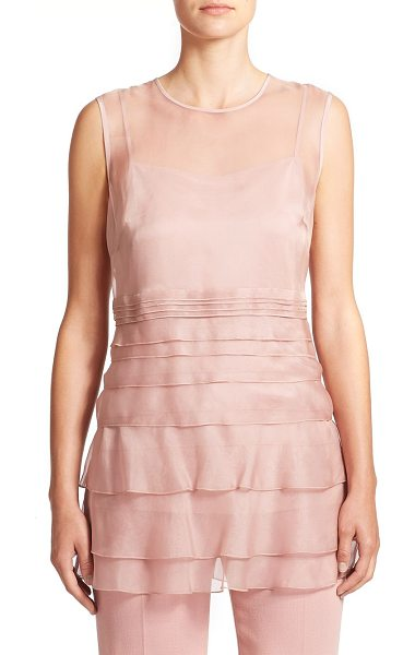 ESCADA Tiered silk chiffon blouse in pink - Soft tiers of silk chiffon lend an airy, romantic feel...