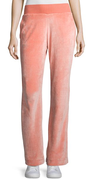 ESCADA Wide-Leg Velvet Pants in watermelon - Escada velvet pants. Side slip pockets. Rise sits below...