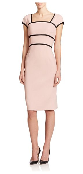 ESCADA Wool cap-sleeve sheath in pink - Contrast piped trim structures this polished sheath,...