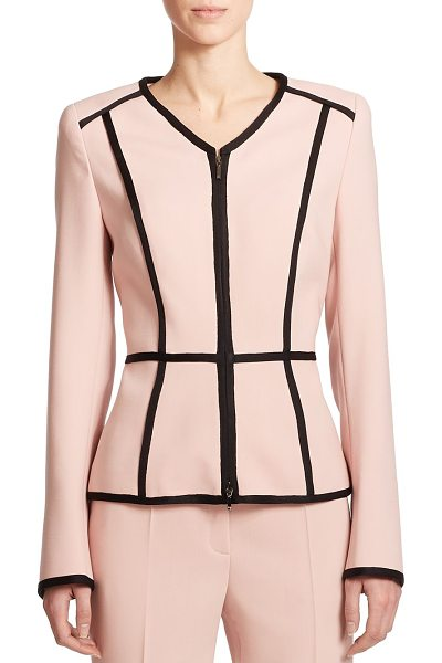 ESCADA Wool peplum blazer in pink - Tonal satin trim enhances the polished look of this...