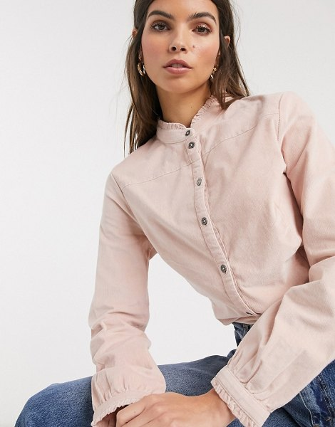 Esprit cord high neck blouse in pink in pink