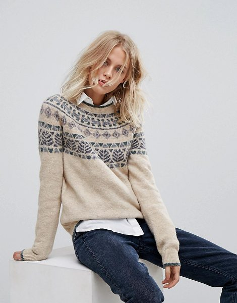 Esprit Fair Isle Patterned Knitted Sweater in cream