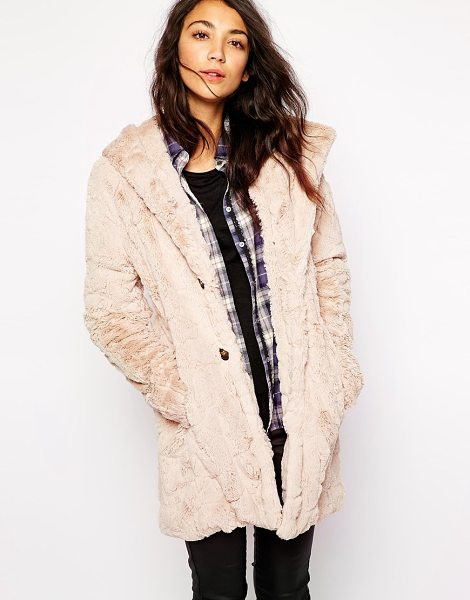 Esprit Faux fur hooded coat in beige - Coat by Esprit Super soft-touch, fluffy fabric...