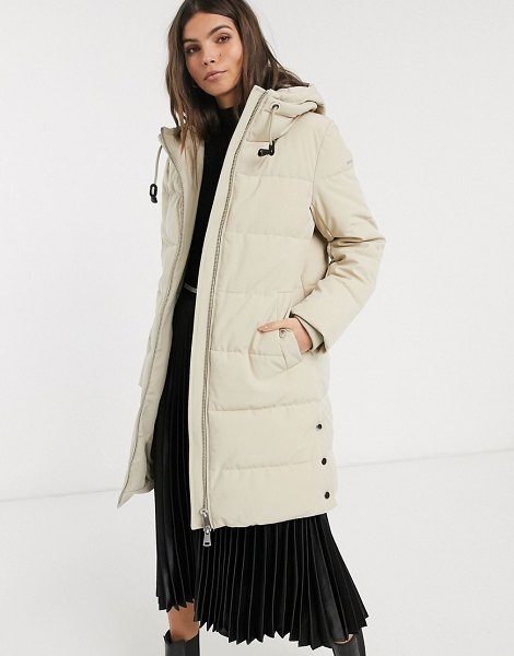 Esprit padded midi coat with hood in beige in beige