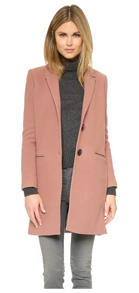 Essentiel Kizzy coat in taupe - A simple Essentiel overcoat in soft felt. Notched lapels...