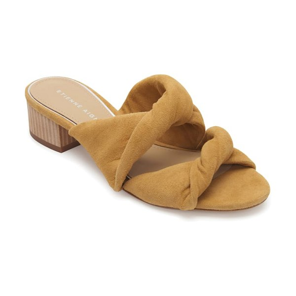 Etienne Aigner bria slide sandal in beige - A woodgrain block heel and twisted leather straps...