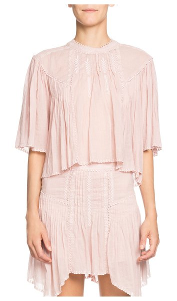 Etoile Isabel Marant Algar Embroidered Flowy Short-Sleeve Top in pink