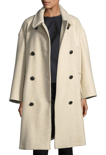 "Etoile Isabel Marant Flicka Double-Breasted Wool Coat in beige - Etoile Isabel Marant ""Flicka"" wool coat. Spread collar;..."