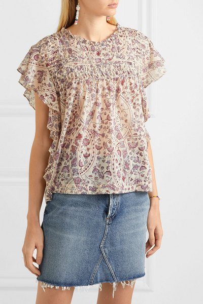 Etoile Isabel Marant layona ruffled pintucked floral-print cotton-voile blouse in ecru
