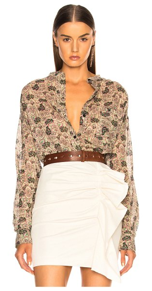 Etoile Isabel Marant Mexika Shirt in abstract,neutral,green,floral - 100% cotton.  Made in India.  Machine wash.  Button...
