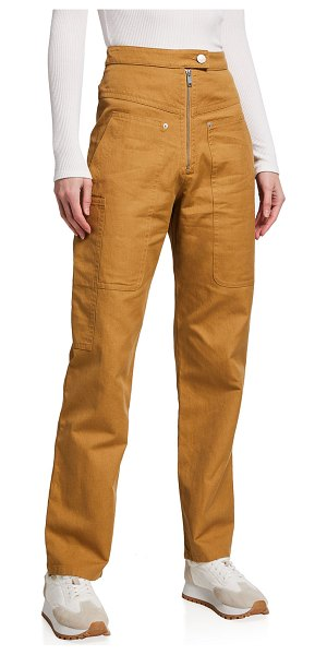 Etoile Isabel Marant Phil High-Rise Zip-Front Pants in camel