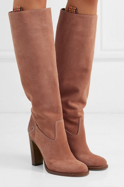 ETRO embroidered suede knee boots in pink