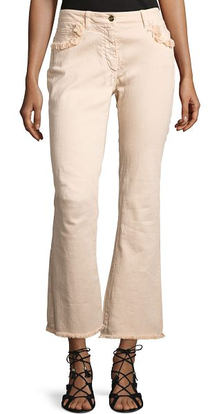 ETRO Fringe-Trim Flared Ankle Jeans in peach - Etro denim jeans with fringe trim. Five-pocket style....