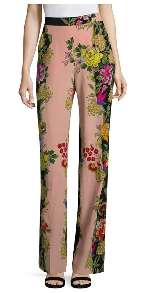 ETRO largo floral-print silk wide-leg pants in pink - Flowy two-tone silk pant with whimsical floral motif....