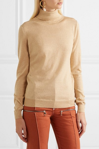 ETRO metallic wool-blend turtleneck sweater in gold - Etro's gold sweater is spun from wool-blend with touches...