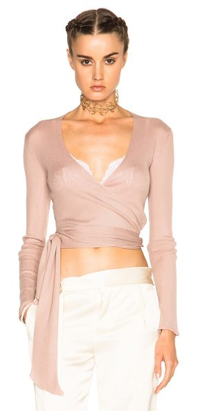 ETRO Natalia Wrap Sweater in pink - 100% cashmere.  Made in Italy.  Rib knit fabric.  Wrap...