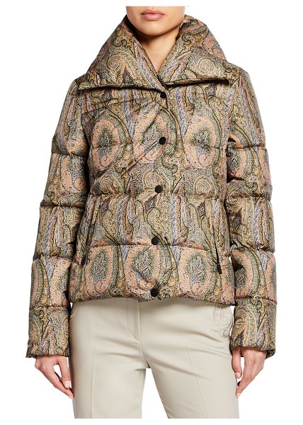 ETRO Pixelated Paisley Puffer Jacket in beige