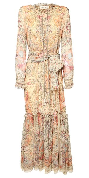 ETRO Printed silk georgette long dress in beige,multi