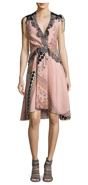 ETRO Sleeveless Lace-Trim Paisley High-Low Dress in pink - Etro dress featuring mixed paisley and polka-dot prints....