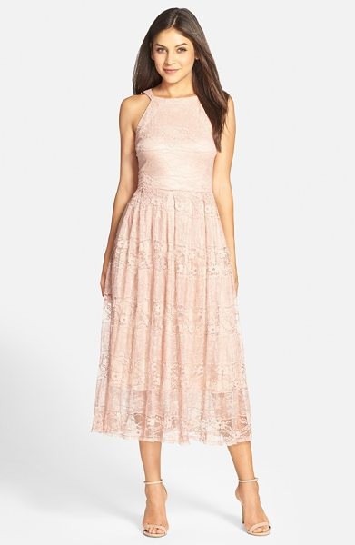 Eva by Eva Franco jane lace midi dress in blush - Dainty floral lace adds an ethereal element to a...