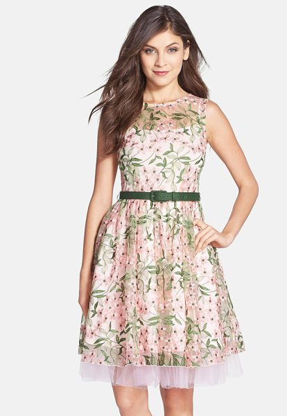 Eva by Eva Franco renee belted floral embroidered fit & flare dress in pink/ green - Delicate embroidery blooms on a pretty mesh dress...