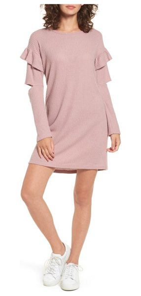 everly ruffle sleeve knit dress in pale rose - Statement sleeves slashed at the elbow and ruffled at...