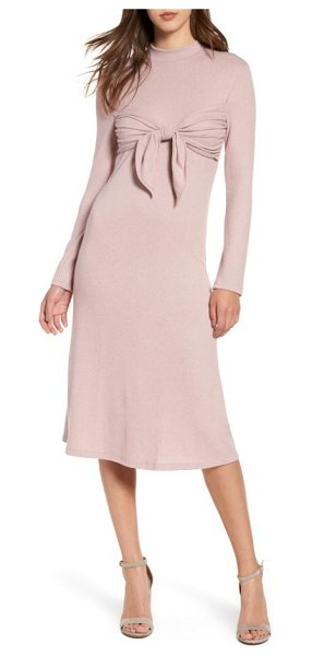 everly tie front knit dress in pink blush - A playful tie creates a trendy bandeau overlay at the...