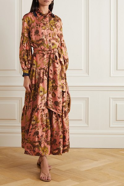 Evi Grintela greatness belted lace-trimmed tiered floral-print silk-twill maxi shirt dress in peach