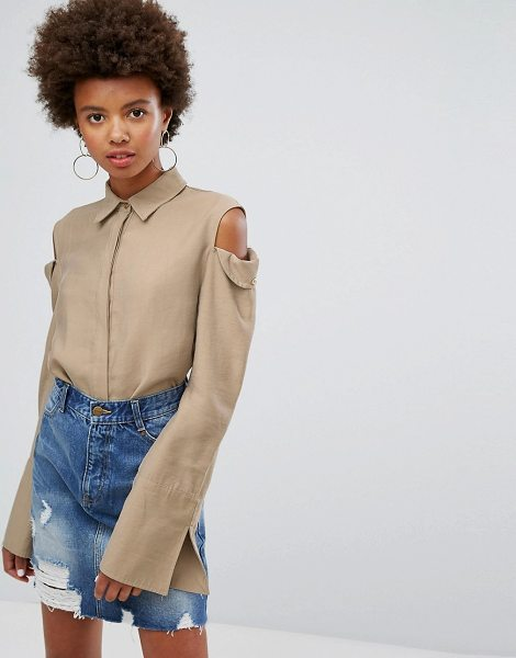 "EVIDNT evidnt cold shoulder shirt in taupe - """"Shirt by Evidnt, Lightweight woven fabric, Spread..."