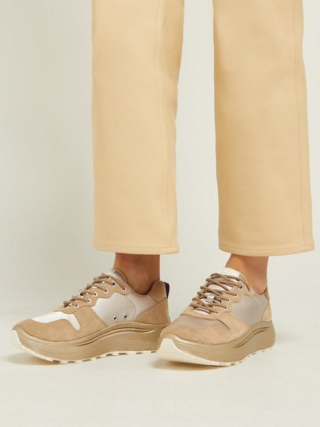 Eytys jet combo exaggerated sole suede trainers in beige
