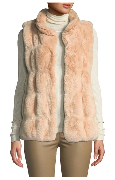 Fabulous Furs Couture Faux-Fur Stand-Collar Vest in rose - Fabulous Furs couture faux fur (acrylic) vest. Stand...