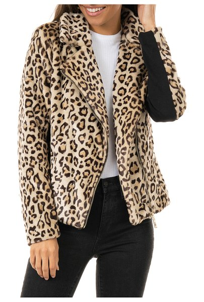 Fabulous Furs Maven Faux-Fur Moto Jacket - Inclusive Sizing in leopard