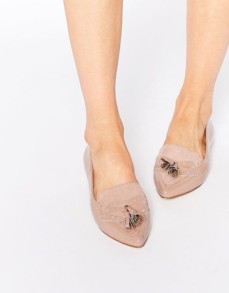 Faith Aaliyah Nude Tassel Pointed Toe Flat Shoes in beige - Flat shoes by Faith, High-shine leather, Slip-on style,...